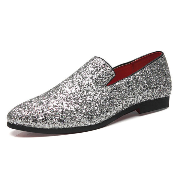 Bling  Men Loafers Charming Elegant Party Dress Shoes Big Size
