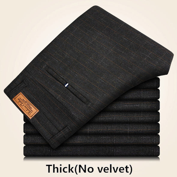 brand Winter trousers men thick velvet business casual Pants