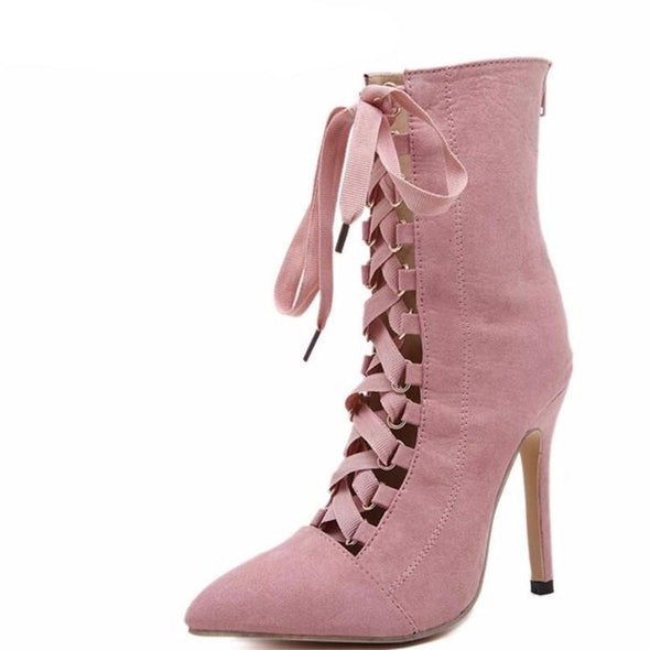 High Heels Women Booties Pointed Toe Strappy Lace Up Pumps Shoes Woman Boots