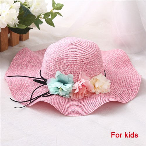 Fashion Oarent-Child Cute Flower Sun Hats Hand Made Shade Hat Summer Women Beach Hat