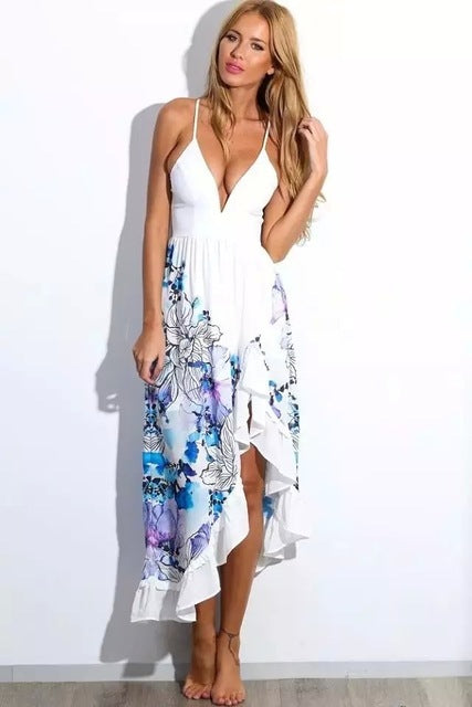 V neck sleeveless floral ruffles long beach dress