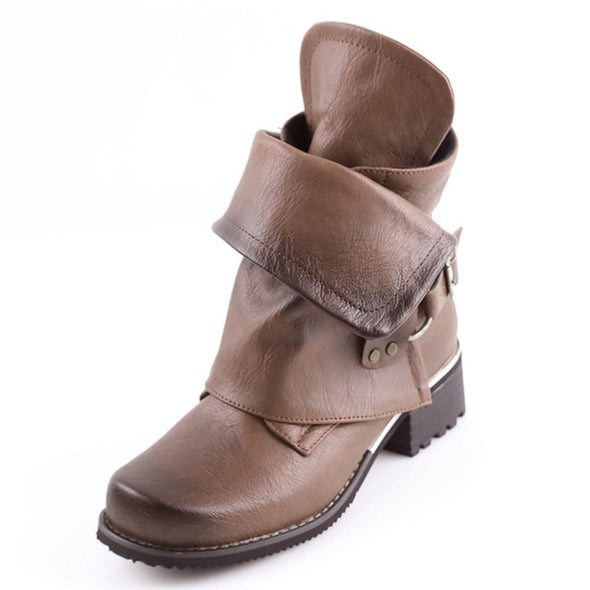 Women Vintage Buckle Rivets Ankle Motorcycle Boots