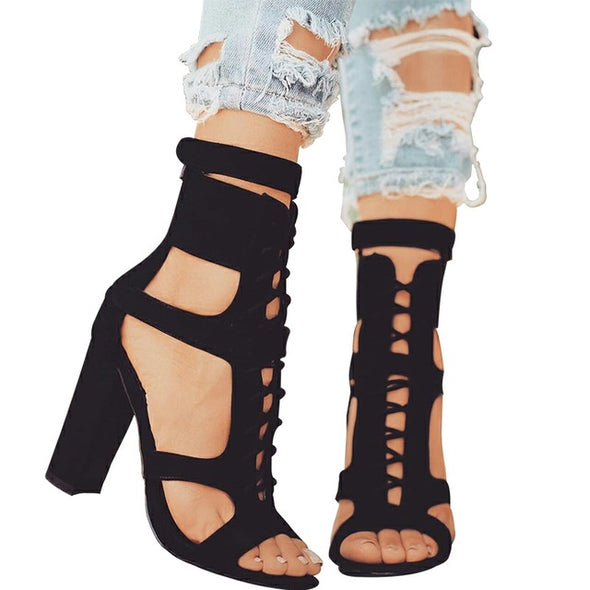 Gladiator High Heels Lace-up Sandals