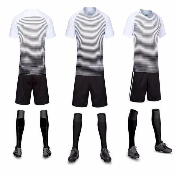 Football Men Jersey Training Sport Stripes Set Kits Team Soccer Breathable(Clothes + trousers)