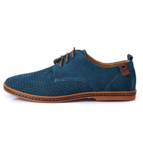 New Fashion Suede Men Flat Casual Shoes Flats Footwear Breathable Lace Up Plus Size