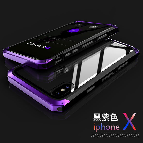 Clear Tempered Glass Hard Plastics Metal Hybrid Phone Protective for iphone