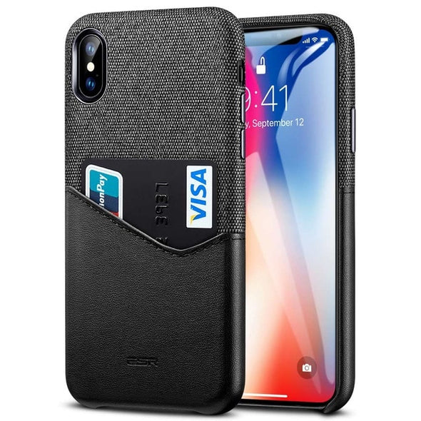 Soft Fabric Thin Light Card Slot Shockproof Case for Apple iPhone X