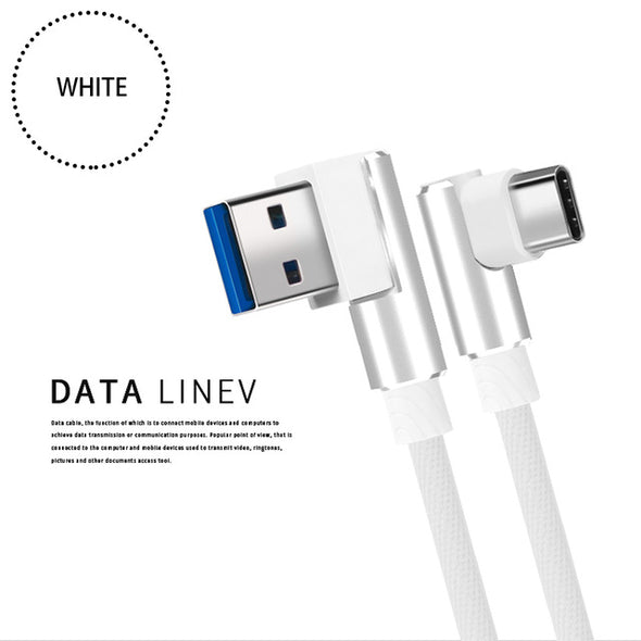 90 Degree USB Type C Charging Cable For Samsung Galaxy