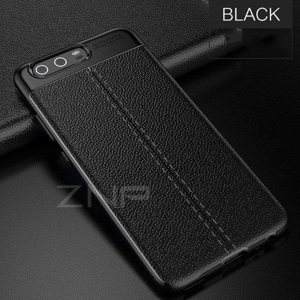 Luxury Leather Carbon Fiber Shockproof Matte Cover Case for Huawei