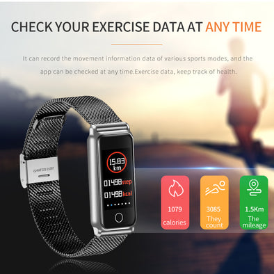 Waterproof Heart Rate Blood Pressure Monitor Fitness Tracker Smart Bracelet