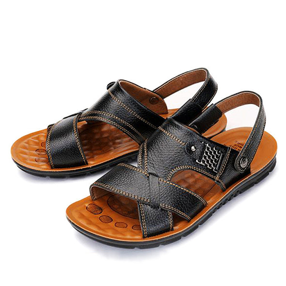 Summer New Men Genuine Leather Sandals Big Size