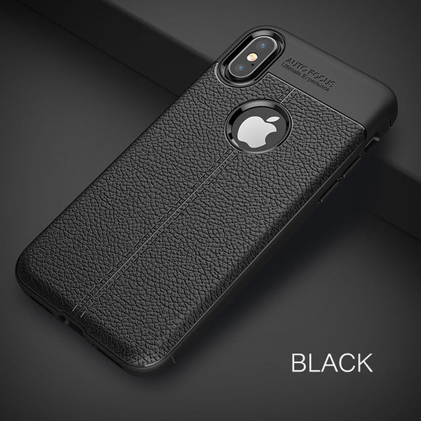 Luxury Litchi Leather Pattern Soft TPU Silicon Shockproof case For iPhone