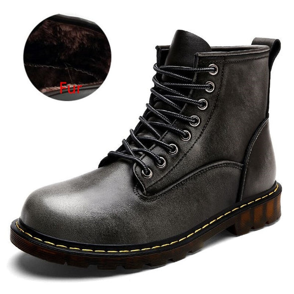 High Quality Genuine leather Men Boots Winter Waterproof Ankle Boots Martin Boots