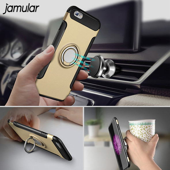 New Ring Holder Phone Case for Samsung Magnetic Suction For Car Kickstand Cover