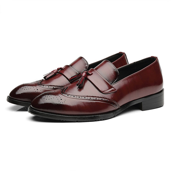 Big Size Men Leather Loafers Classic Tassel Brogue  Footwear