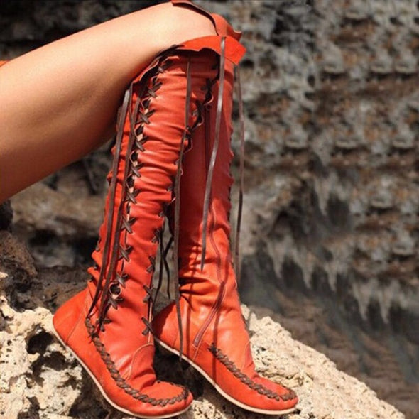 Handmade Comfortable Bohemian Leatherette Moccasin Boots