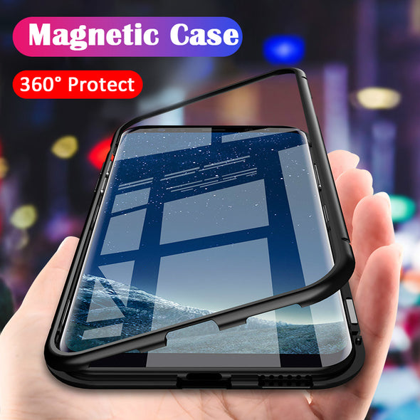 Tempered Glass Magnet Adsorption Case For Samsung