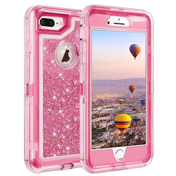 Hybrid 3D Glitter Armor Case For IPhone  Dynamic Quicksand Shockproof Phone Cases Covers