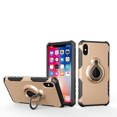 Finger Ring Back Armor Cover Protective Shock Reduction Hard Shell for iPhone X