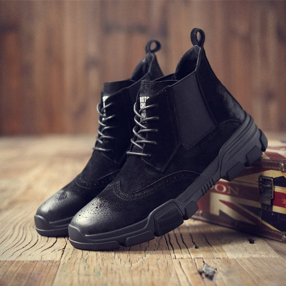 New Men Geunine Leather Boots Bullock Lace-Up Ankle Shoes