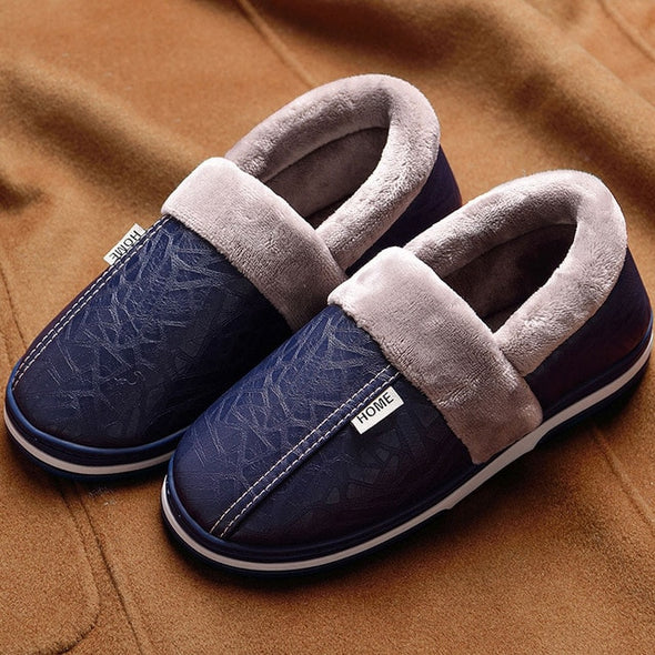 Pu Leather Winter House Slippers