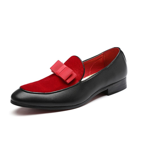 Black Patent Leather Red Suede Loafers Men Formal Shoes