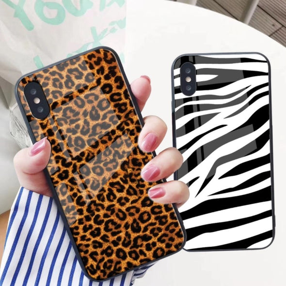 Luxury Tempered Glass Leopard Case For iPhone X XS XR XS Max Soft TPU Frame + PC + Glass Animal Case
