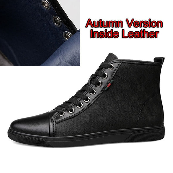 Fashion New High Top Casual Shoes For Men Genuine Leather Lace Up Men  High Top Sneaker