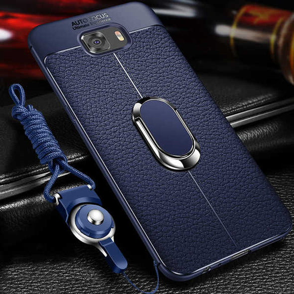 Soft Silicone Leather Case With Magnetic Car Holder For Samsung Galaxy Note 9 8 S8 S9 PLus