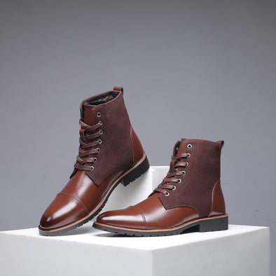 Vintage Men Leather Boots Lace-Up Martin Boots