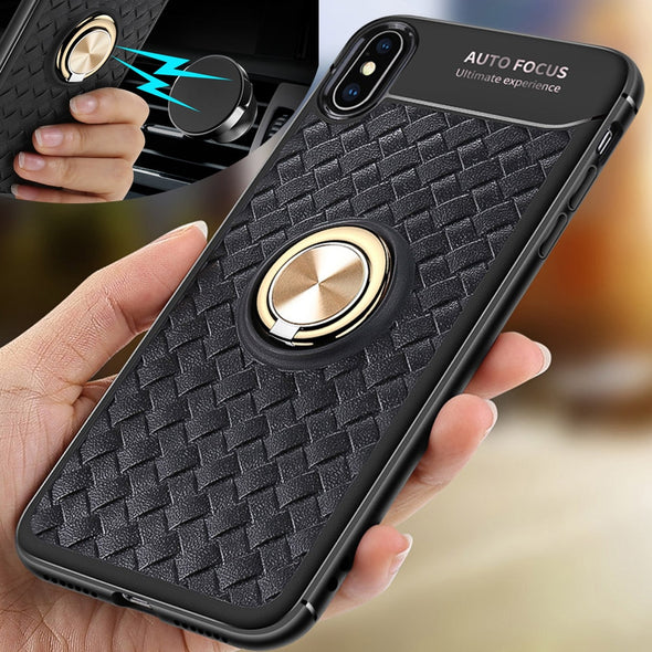 Shockproof Armor Case for Iphone Xr Xs max Cover Ring Car Holder Stand Magnetic Case