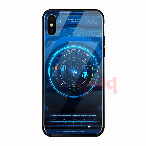Circuit Board Tempered Glass Hard Back Phone Cases Full Cover For iphone X XR Xs Max