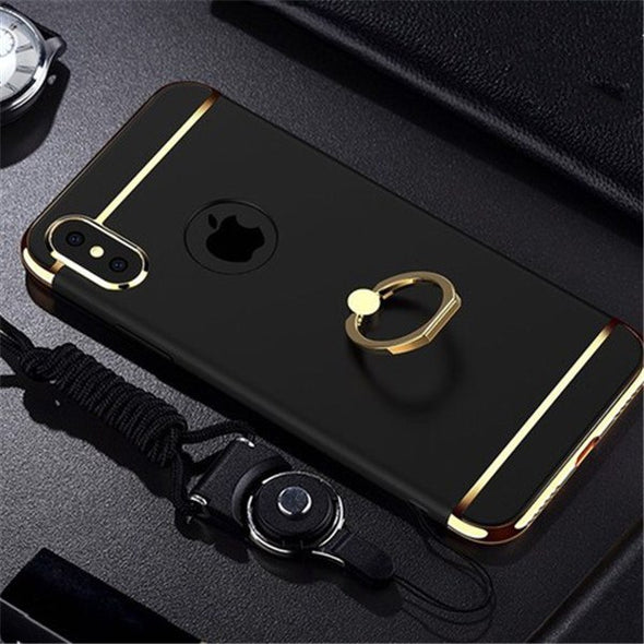 Ultra Thin Plating Ring Holder Case Hard PC 3 IN 1 Case For iPhone X XR XS MAX With Strap