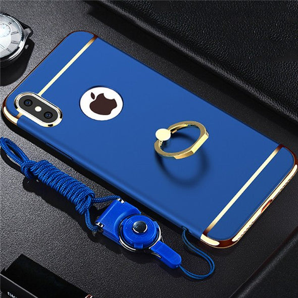 Ultra Thin Plating Ring Holder Case 3 IN 1 Case For iPhone X XR XS MAX With Strap