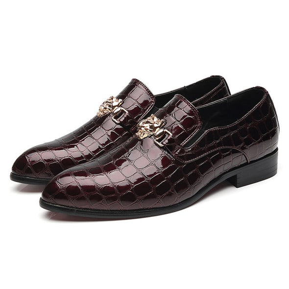 New Luxury Crocodile Grain Slip-On Oxfords Shoes