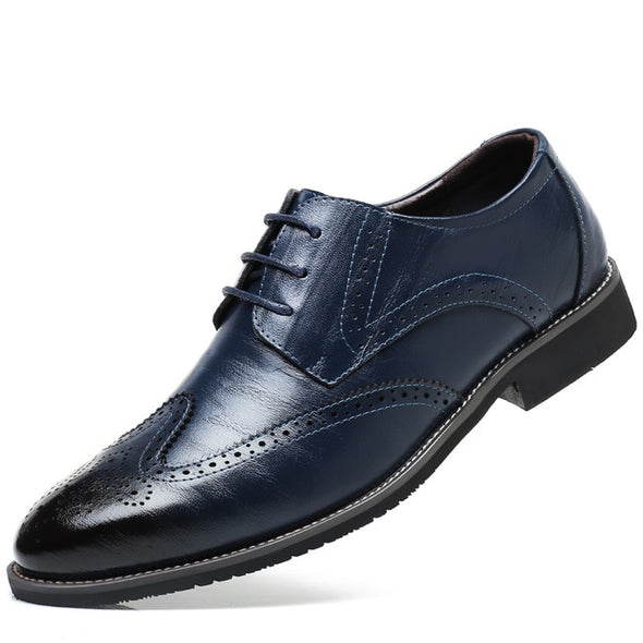 Men Oxford Dress Shoes Brogue Lace Up Flats  Casual Shoes