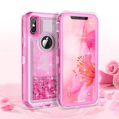 360 TPU Glitter Bling Transparent Liquid Hard Full Protection Quicksand Case
