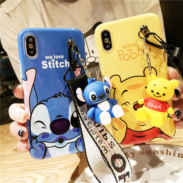 Super cute Stitch mini Pooh dinosaur lanyard+tand silicone personality drop case