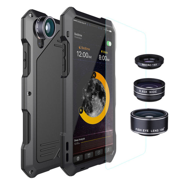 3 in 1  Macro Lens Phone Cases For IPhone XS MAX XR X Cover Luxury Metal + TPU Hybrid Shockproof Armor Case + Glass Film