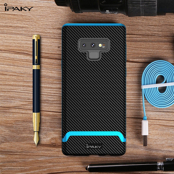 Silicone Carbon Fiber PC Hybrid Shockproof Protective Cover for Samsung Galaxy Note 9 Case