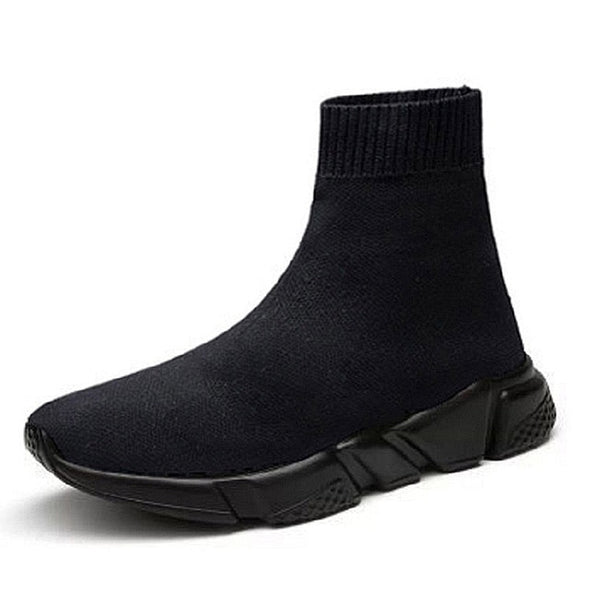 Men Knit Upper Breathable Sport Shoes Sock Boots