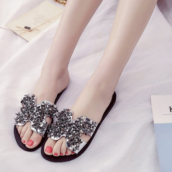 Women Rhinestone Slides Flats Slippers