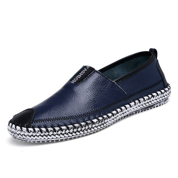 Men Soft Leather Slip on Boat Shoes