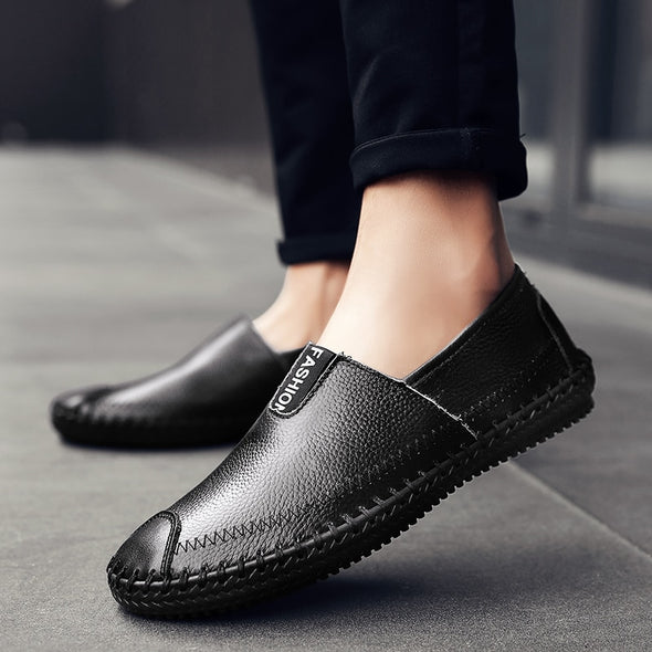 Men Breathable Split Leather Loafers