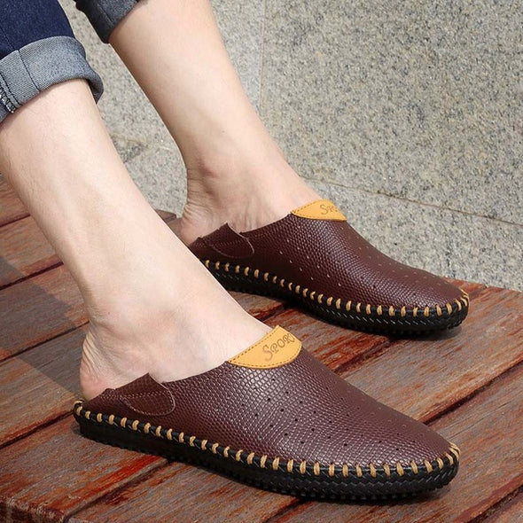 Genuine Leather Men Shoes Summer Casual Sandals