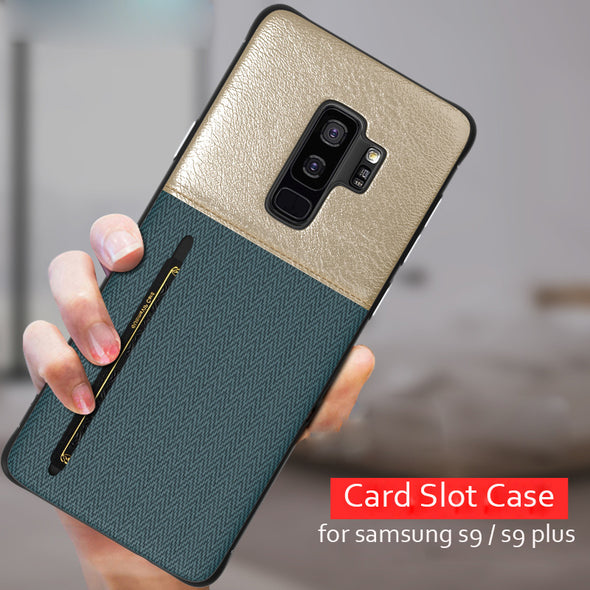 Wallet Slim Silicone Card Slot Case for Samsung Galaxy Note 9 8 S9 S8 S9+