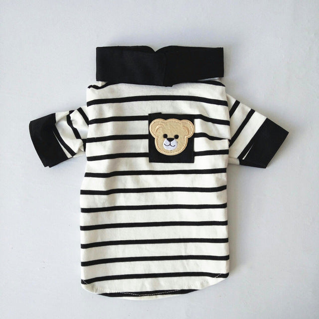 Cute Striped puppy Collared T Shirt
