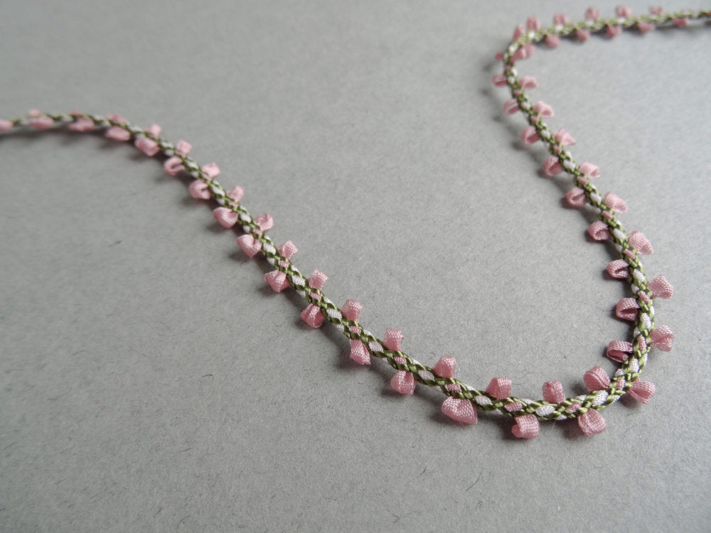 Delicate Woven Trim - Pink/White (AVAILABLE TO ORDER)