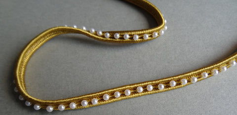 Gold Beaded Pearl Trim