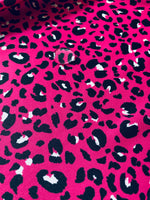 Printed jersey with breathable, hydrophobic membrane FUCHSIA LEOPARD